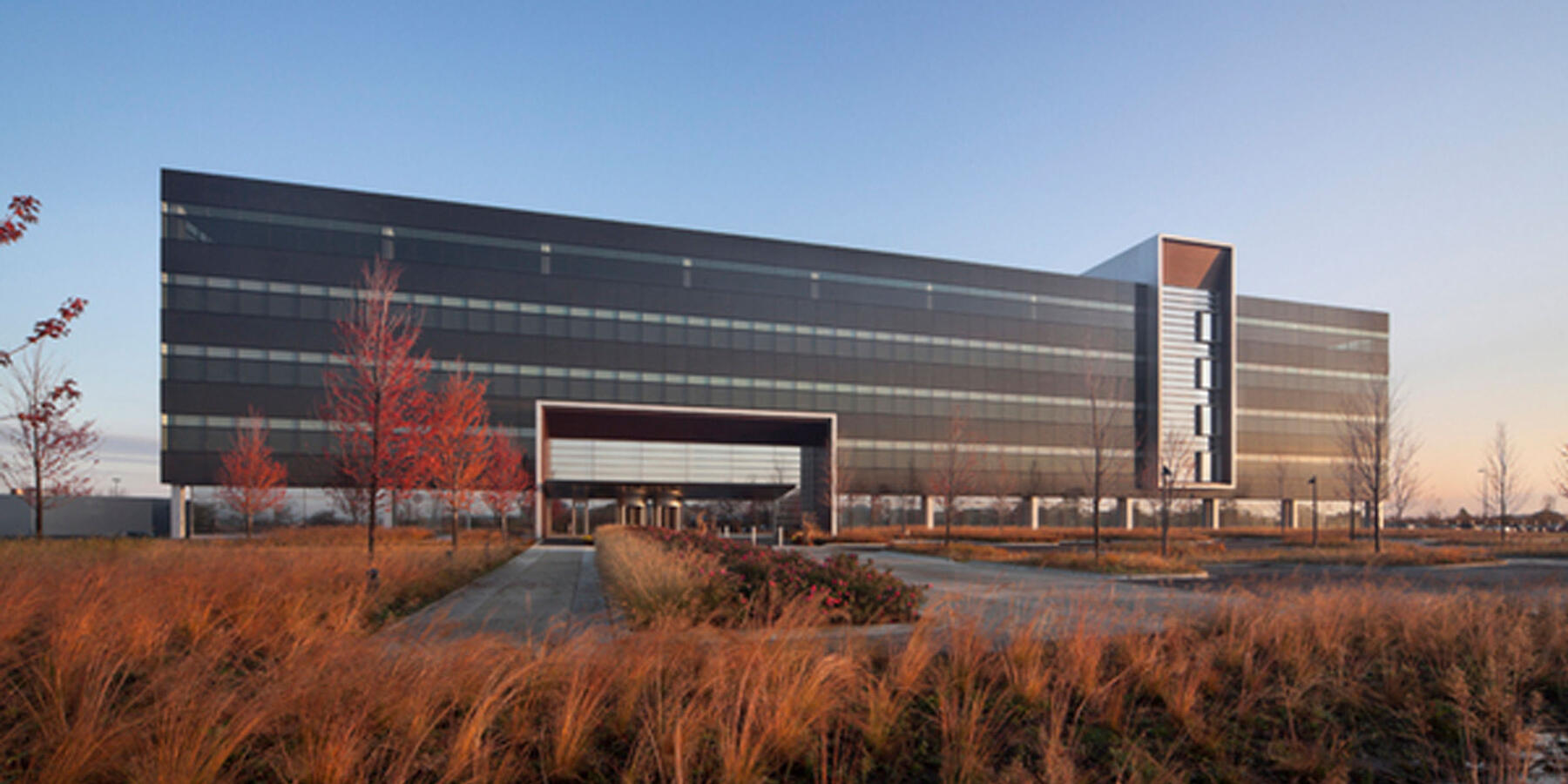 Corporate Office Construction - Panduit World Headquarters exterior full view at dusk