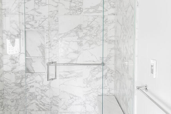 Luxury Residential Home Construction - Drake Tower Chicago bathroom marble shower detail