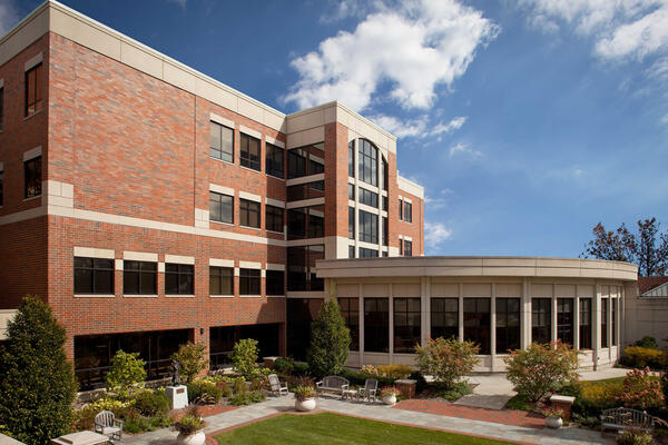 Healthcare Construction Projects - Edward Hospital exterior facade with rotunda courtyard