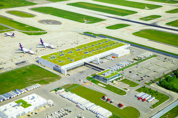 Airport Construction Chicago-  FedEx O'Hare Cargo Facility aerial shot with roof vegetation