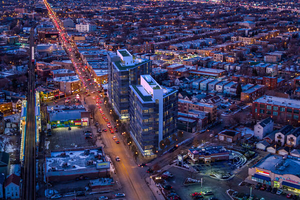 Chicago Apartment Complex Construction - Mica Apartments exterior aerial view at night