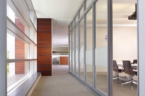 Corporate Office Construction - Panduit World Headquarters hallway meeting space