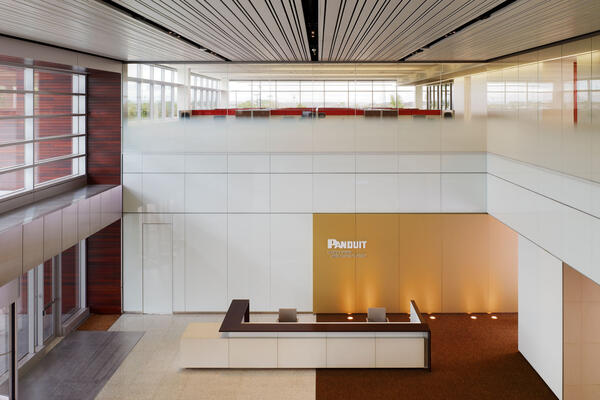 Corporate Office Construction - Panduit World Headquarters lobby reception atrium
