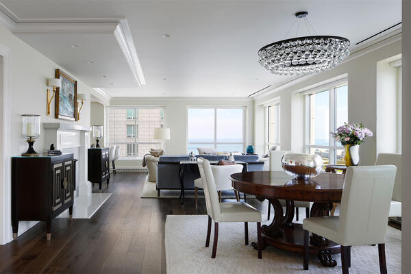 Chicago Luxury Home Builders - 250 E Pearson living room and dining room