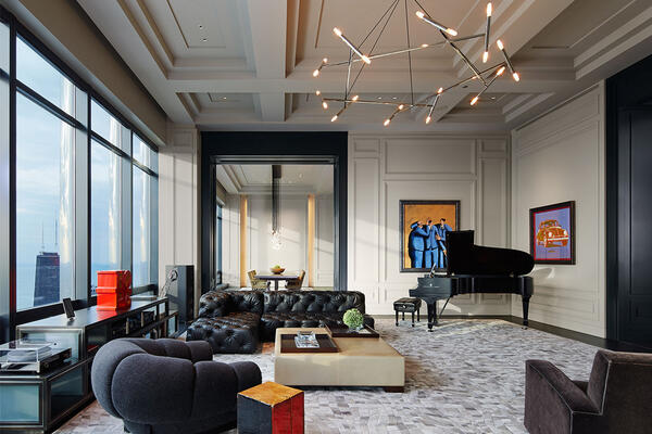 High End Home Builders Chicago - Trump Tower Residences living room
