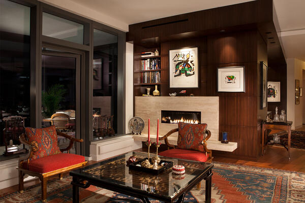 High End Home Contractors Chicago - The Legacy living room with fireplace