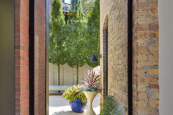 Custom Home Builders Chicago - Wicker Park Residence view of yard from inside