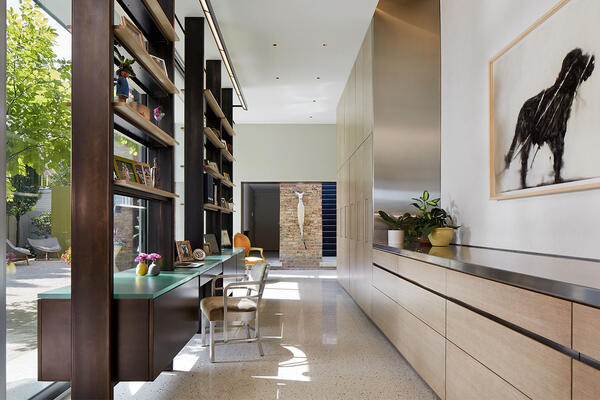 Custom Home Builders Chicago - Wicker Park Residence hallway with built-in shelving