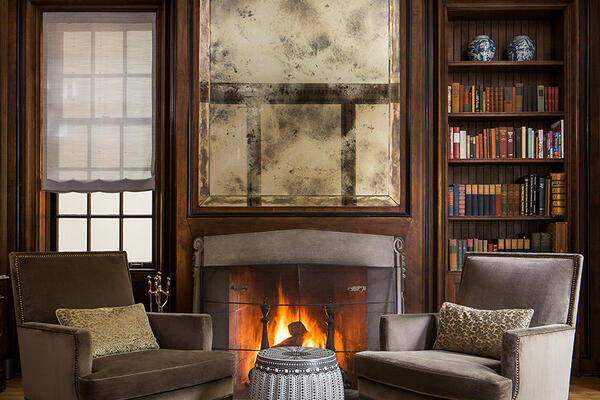 Historic Home Restoration & Renovation - Hyde Park Chicago study and fireplace