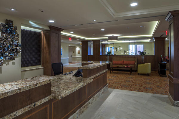 Chicago Senior Living Construction - Moorings Arlington Heights dining and reception area