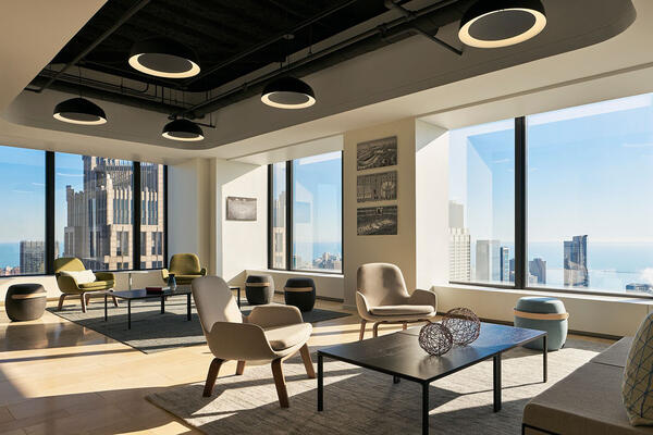 Chicago Office Construction - Tressler Willis Tower interior lounge space