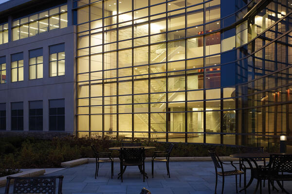 Office Construction & Remodeling - United Methodist HQ exterior courtyard seating and curtainwall